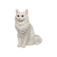 35cm White Sitting Cat with Blue Eyes