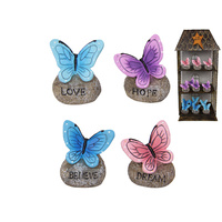 1pce 6cm Butterfly on Rock Inspirational Figurine