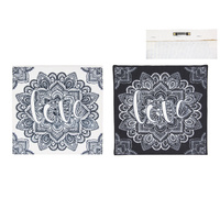 1pce 28cm Mandala Print with LOVE Canvas Wall Hanging