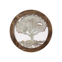 63cm Framed Tree of Life Rustic Wall Art Hanging Decor