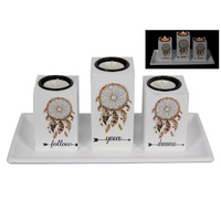 New 28cm Follow Your Dreams Tealight Candle Holder Set w/ Dream Catcher Print