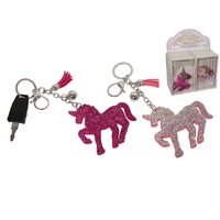 New 1pce 17cm Magical Unicorn Glitter Key Ring in Gift box