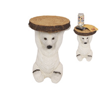 35cm Resin Polar Bear Small Side Table, Mancave Style