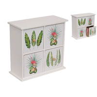 New 21x21x10cm 4 Drawer Flamingo / Fern Drawer Set