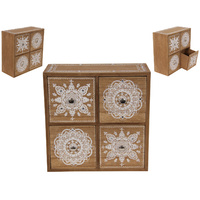 22.5cm Bohemian Style Wooden Spice Cabinet with Mandala Gem Detailing