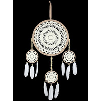New 1pce 32cm White Crochet Dream Catcher with Feathers American Indian Inspired