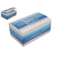 Inspirational Beach Box - Live Laugh Relax 21x13cm Nautical Theme Blue Colours
