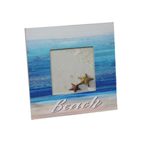 Beach Themed Photo Frame 16x16cm in Blue Colours with Star Motif