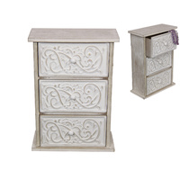 New 1pce 27cm 3 Draw Chest Cabinet with Filigree Design Home Decor