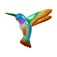1pce 32cm Humming Bird Wall Art Metal and Glass Rainbow Colour Bright & Vibrant!