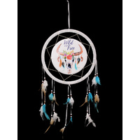 "New 1pce 33CM Cow Skull Boho Dream Catcher ""Wild and Free"" Saying"