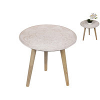 New 1pce 41cm High MDF Mandala Table In Natural Tones