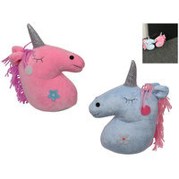 23cm Unicorn Door Stop Plush Blue & Pink Weighted Cute Glitter Bright Colours
