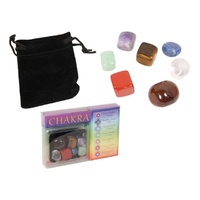 New 7pce Chakra Polished Stones in Gift Box and Velvet Style Bag