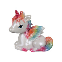 New 1pce 11cm Rainbow Baby Sitting Unicorn Ornament Resin