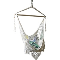 130cm Hanging Macrame Chair in White Boho Themed