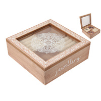 New 1pce 17X17CM Jewellery Box BoHo Themed with White Mandala Print and Boarder