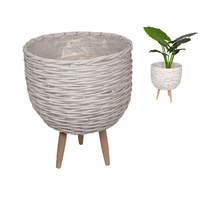 1pce 40cm White Wicker Basket Pot Plant Holder with Legs