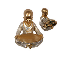 New 1pce 33cm Gold Monk Holding Offering Plate