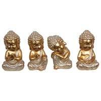 New 1pce Gold with Silver Glitter 15cm Buddha Monk 4 Assorted