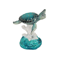 New 1pce 14cm Blue Turtle on Coral Reef Resin and Realistic Looking