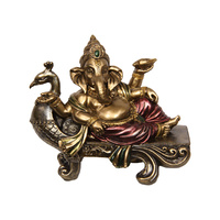 New 1pce 19cm Ganesh on Gold Peacock Elephant Buddha