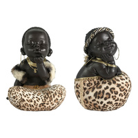 15CM CUTE AFRICANS WITH ANIMAL PRINT SKIRT 2 ASSTD