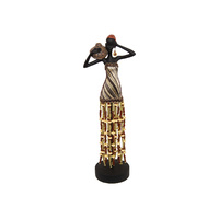 New 1pce 35cm African Lady Resin Pedestal Beaded Skirt Jug