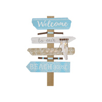 "New 1pce 48CM ""Welcome to My Beach House""  Sign with Mandala Print & Shells"