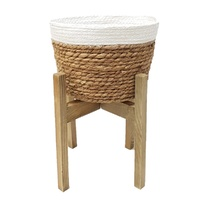 New 1pce 40cm Sea Grass Planter on Wooden Stand Natural Colours