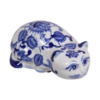 New 1pce 20cm Blue Willow Cat Home Decor Ceramic Cute Design