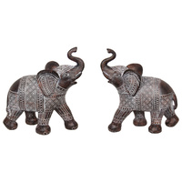 New 1pce 21cm Brown Standing Elephant with Syncopated Finish Trunk Up