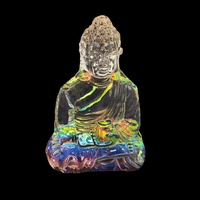 New 1pce 11cm Glass Buddha Multi Coloured Rainbow Effect Rulai Decor