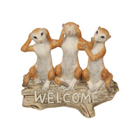 New 1pce 12cm Wise Meerkats on Log Welcome Resin Garden Décor Cute
