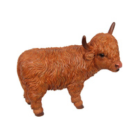 New 1pce 23cm Standing Highland Cow Resin Orniment Amazing Detail