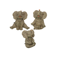 New 1pce 17cm Yoga Elephant in Natural Grey Colouring Very Cute! Meditation Pose