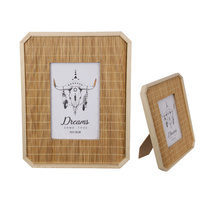 New 1pce 24cm Boho Photo Frame Bamboo Rattan Designed Cow Skull Theme