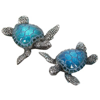 New 1pce 7.5cm Marble Turtle Blue & SIlver Body 2 Asstd Resin Realistic Decor