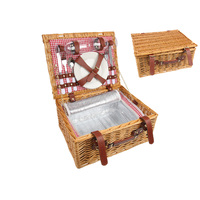 1pce 38cm Picnic Basket for 2 Insulated Lining Includes Crockery Woven Cane