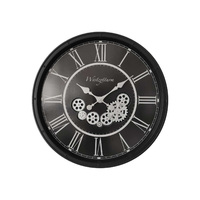 1pce 55cm Black Clock With Moving Cogs Wall Art Home Steampunk