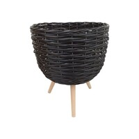 1pce 40cm Black Wicker Basket Pot Plant Holder with Legs
