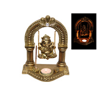 1pce 23cm Gold Ganesh on Swing Rope with Tealight & Incense Holder Resin Buddha