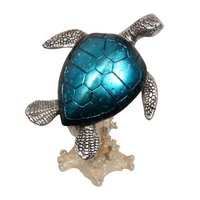 1pce 18cm Blue Metallic Turtle on Coral Swimming Resin Décor Standing Beach House