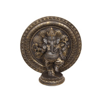 1pce 19cm Ganesh Buddha Gold & Bronze with Lotus Ring Resin Statue
