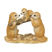 1pce 14cm Meerkat Family With Baby On Log Resin Home Décor Ornament