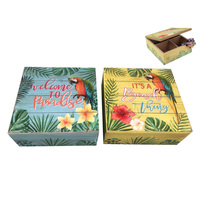 16cm Square Paradise & Beach Tropical Parrot Trinket Jewellery Boxes Wooden