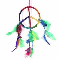 12cm Dream Catcher Leather Rainbow Peace Symbol Design with Feathers