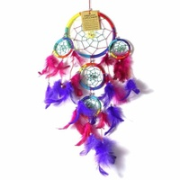 12cm Dream Catcher Rainbow Web Design with Multi Coloured Feathers
