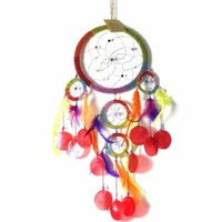 16cm Dream Catcher Beaded Rainbow Web Design with Feathers, Shells, Beads