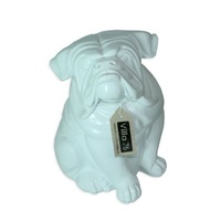 31.5cm Sitting White British BullDog Designer Resin Statue / Ornament